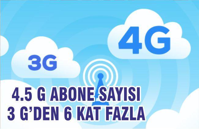 4,5G Abone Sayısı 3G'den 6 Kat Fazla!