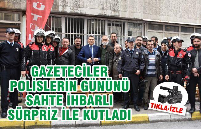 Gazetecilerden polislere sahte bomba ihbarlı kutlama