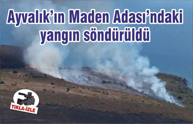Ayvalık'ın Maden Adası'ndaki yangın söndürüldü
