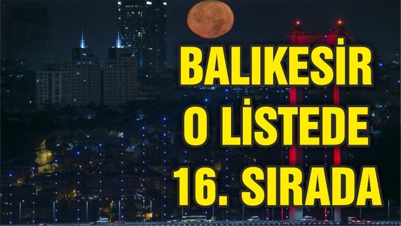 BALIKESİR O LİSTEDE 16. SIRADA