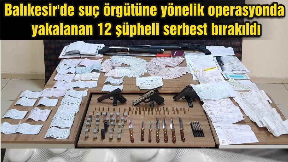 Balıkesir'de suç örgütüne yönelik operasyonda yakalanan 12 şüpheli serbest bırakıldı