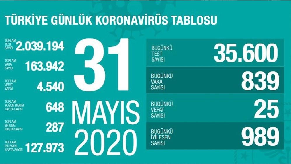Türkiye'de 31 Mayıs günü koronavirüs nedeniyle 25 kişi hayatını kaybetti, 839 yeni vaka tespit edildi