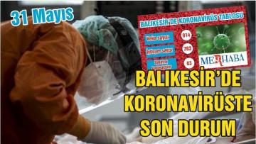 BALIKESİR'DE KORONAVİRÜSTE 31 MAYIS TABLOSU