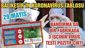 BALIKESİR'DE KORONAVİRÜSTE 29 MAYIS TABLOSU