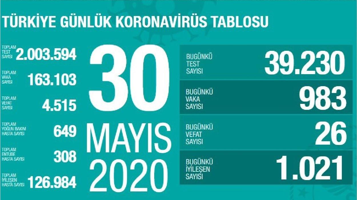 Türkiye'de 30 Mayıs günü koronavirüsten ölenlerin sayısı 26 oldu, yeni vaka sayısı binin altına düştü