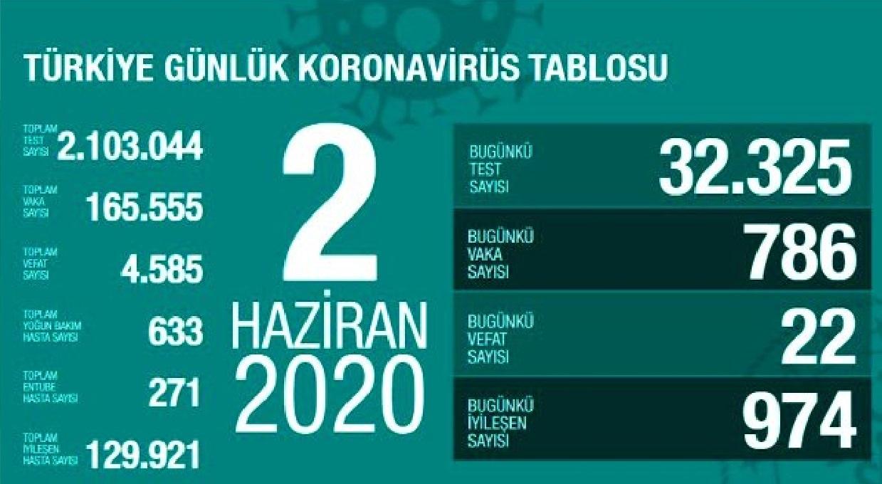 Türkiye'de 2 Haziran günü koronavirüsten ölenlerin sayısı 23 oldu, vaka sayısı 800'ün altına düştü