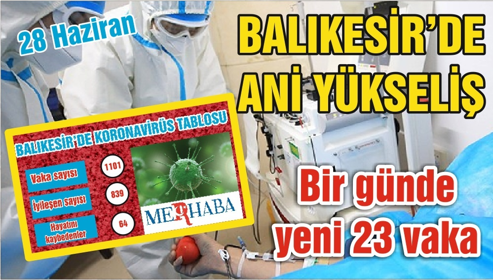 BALIKESİR'DE KORONAVİRÜSTE 28 HAZİRAN TABLOSU