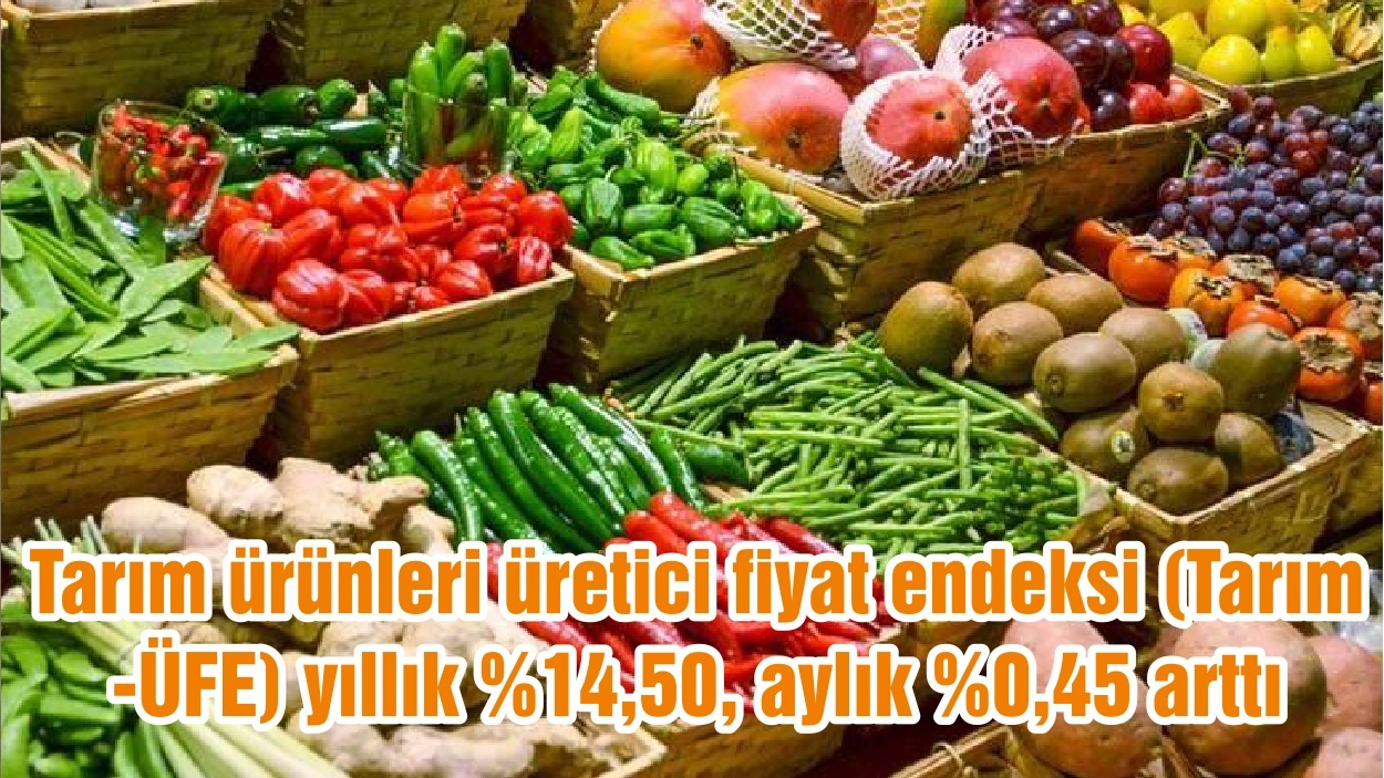 Tarım ürünleri üretici fiyat endeksi (Tarım-ÜFE) yıllık %14,50, aylık %0,45 arttı