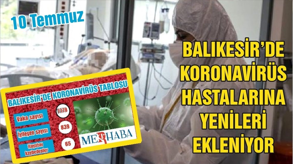 BALIKESİR'DE 10 TEMMUZ KORONAVİRÜS TABLOSU