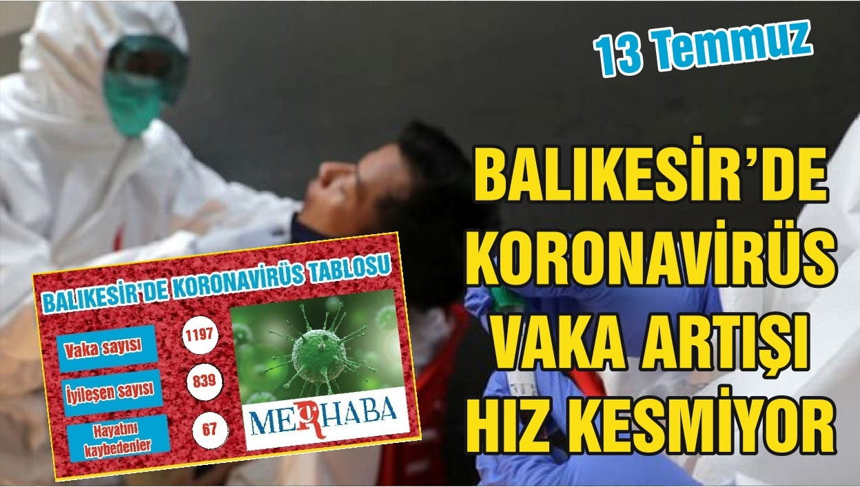 BALIKESİR'DE 13 TEMMUZ KORONAVİRÜS TABLOSU