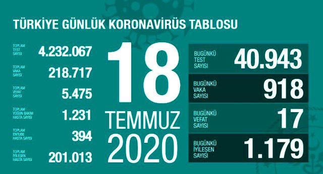Türkiye'de 18 Temmuz günü koronavirüs kaynaklı 17 can kaybı, 918 yeni vaka tespit edildi