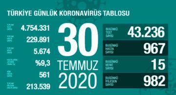 Türkiye'de 30 Temmuz günü koronavirüs kaynaklı 15 can kaybı, 967 yeni vaka tespit edildi