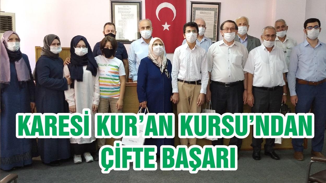 KARESİ KUR'AN KURSU'NDAN ÇİFTE BAŞARI