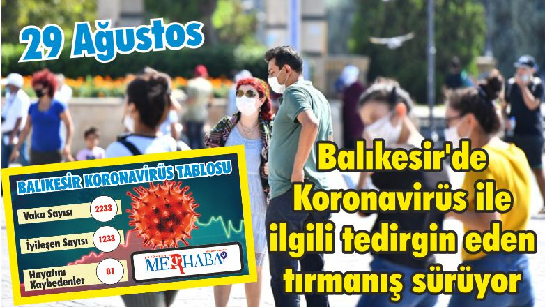 Balıkesir'de 29 Ağustos Koronavirüs Tablosu