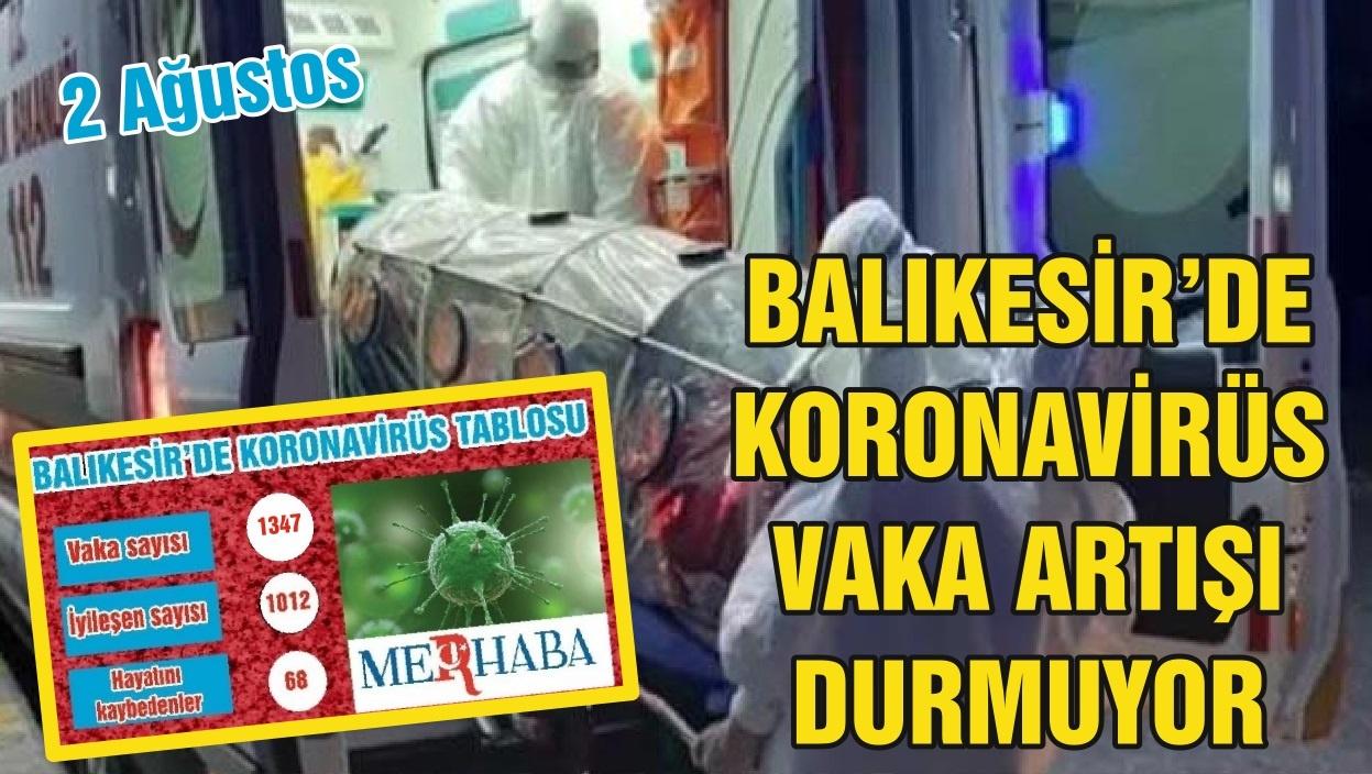 BALIKESİR'DE 2 AĞUSTOS KORONAVİRÜS TABLOSU