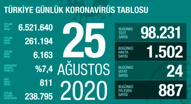 Türkiye'de 25 Ağustos günü koronavirüs nedeniyle 24 kişi hayatını kaybetti, 1502 yeni vaka tespit edildi