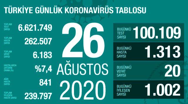 Türkiye'de 26 Ağustos günü koronavirüs kaynaklı 20 can kaybı, 1313 yeni vaka tespit edildi