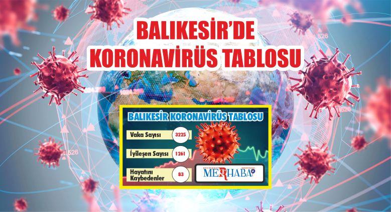 BALIKESİR'DE 19 EYLÜL KORONAVİRÜS TABLOSU