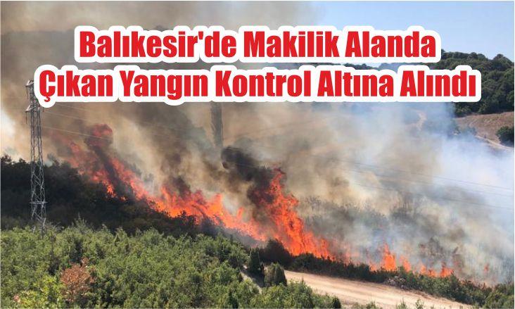 Balıkesir'de Makilik Alanda Çıkan Yangın Kontrol Altına Alındı