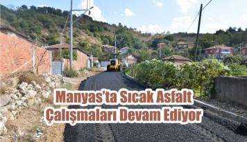 Manyas'ta Sıcak Asfalt Çalışmaları Devam Ediyor