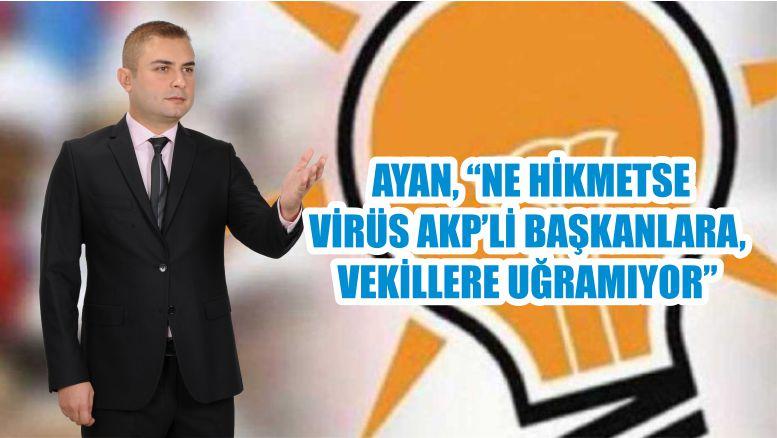 """AYAN, """"NE HİKMETSE VİRÜS AKP'Lİ BAŞKANLARA, VEKİLLERE UĞRAMIYOR"""""""