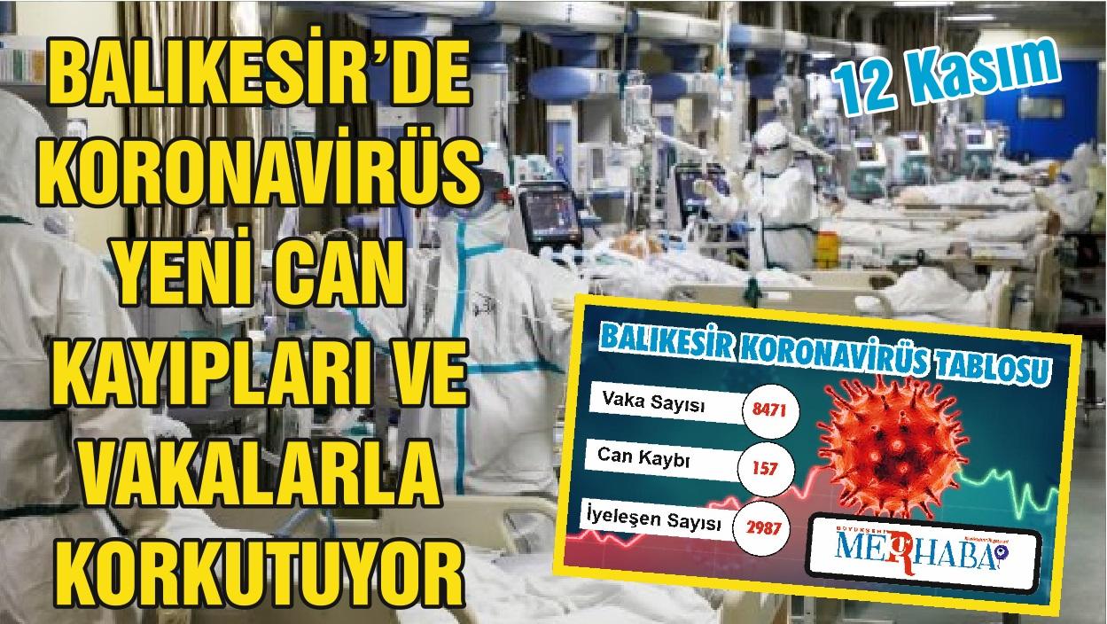 BALIKESİR'DE 12 KASIM KORONAVİRÜS TABLOSU