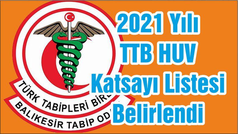 2021 Yılı TTB HUV Katsayı Listesi Belirlendi