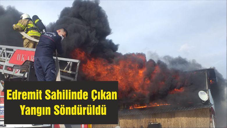 Edremit Sahilinde Çıkan Yangın Söndürüldü