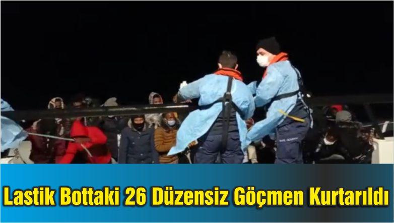 Motoru Arızalanan Lastik Bottaki 26 Düzensiz Göçmen Kurtarıldı