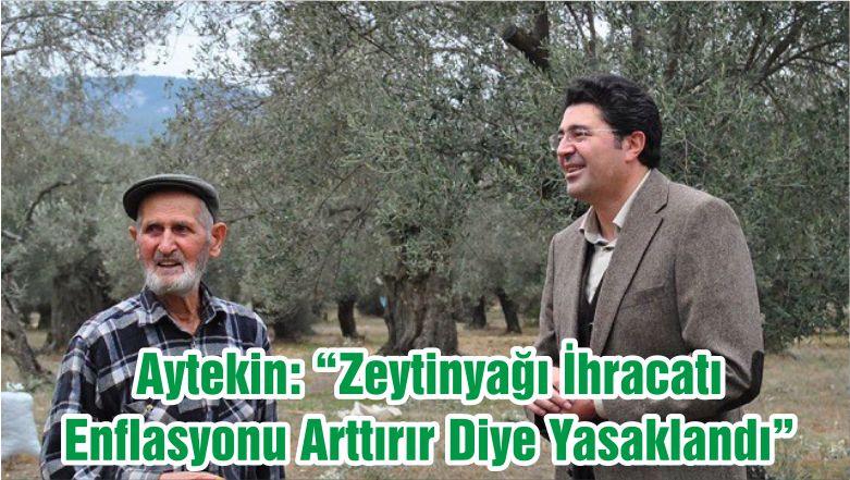 """Aytekin: """"Zeytinyağı İhracatı Enflasyonu Arttırır Diye Yasaklandı """""""