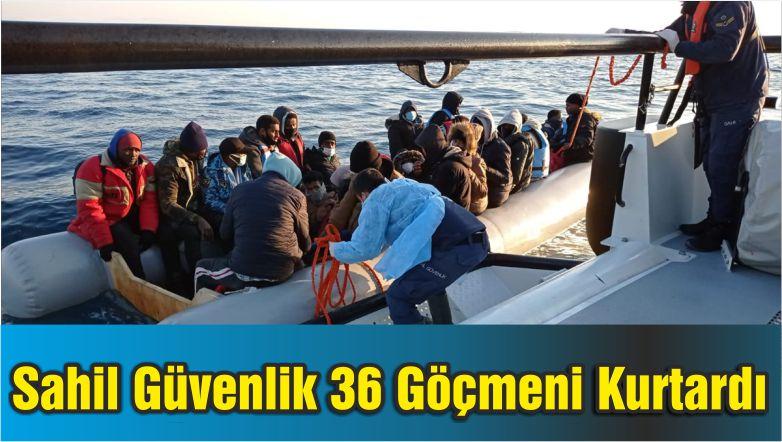 Sahil Güvenlik Ayvalık'ta 36 Göçmeni Kurtardı