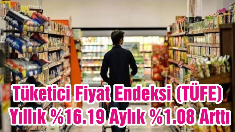 Tüketici Fiyat Endeksi (TÜFE) Yıllık %16.19 Aylık %1.08 Arttı