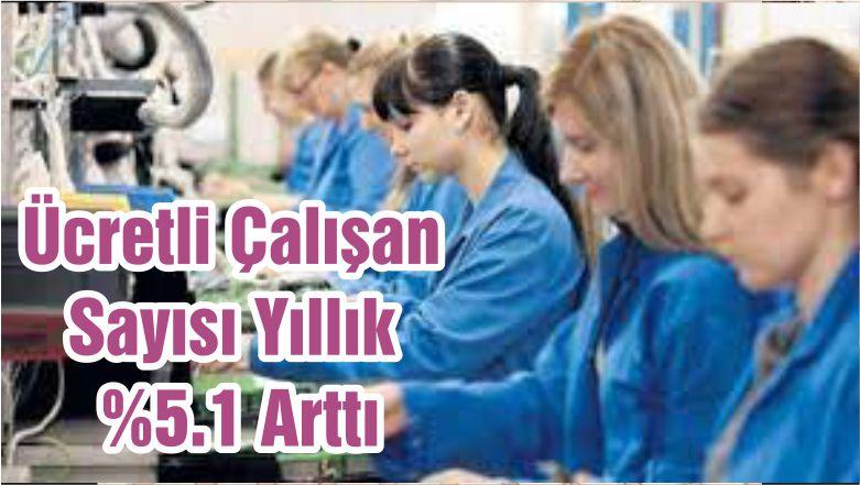 Ücretli Çalışan Sayısı Yıllık %5.1 Arttı