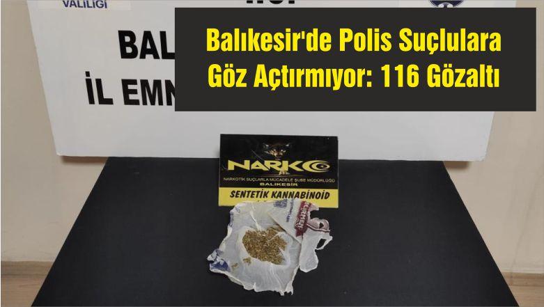 Balıkesir'de Polis Suçlulara Göz Açtırmıyor: 116 Gözaltı