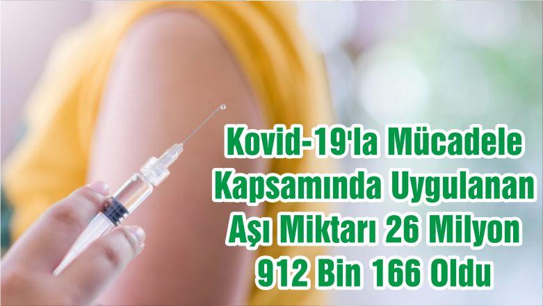 Kovid-19'la Mücadele Kapsamında Uygulanan Aşı Miktarı 26 Milyon 912 Bin 166 Oldu