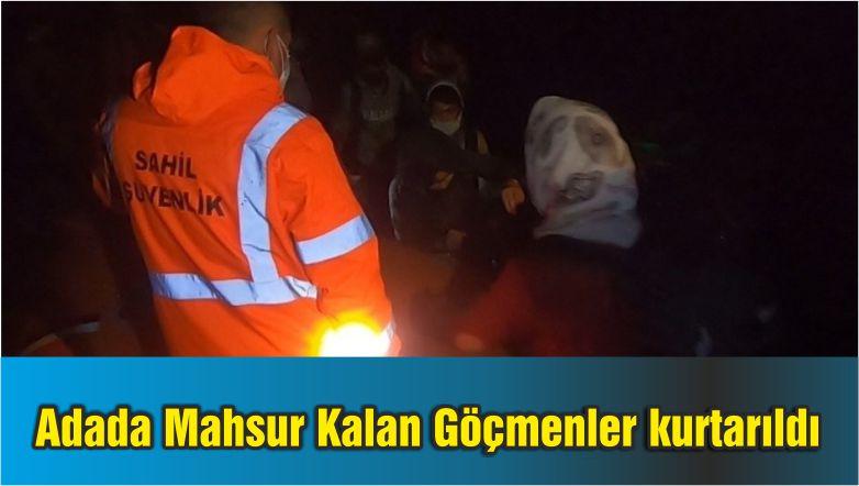 Adada Mahsur Kalan Göçmenleri Sahil Güvenlik Kurtardı