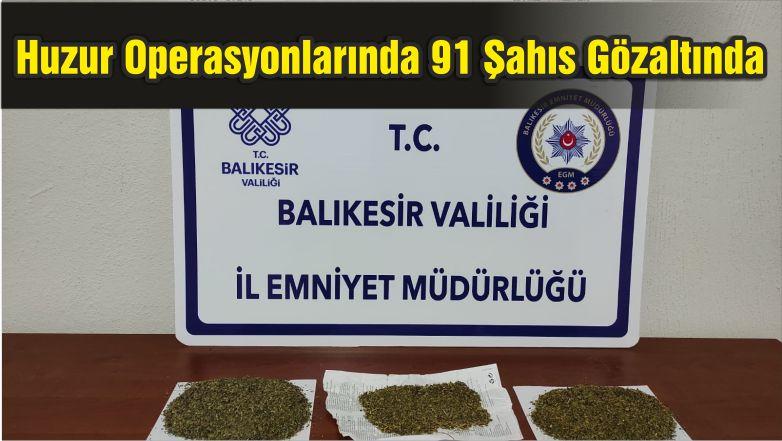 Balıkesir'de Huzur Operasyonlarında 91 Şahıs Gözaltına Alındı