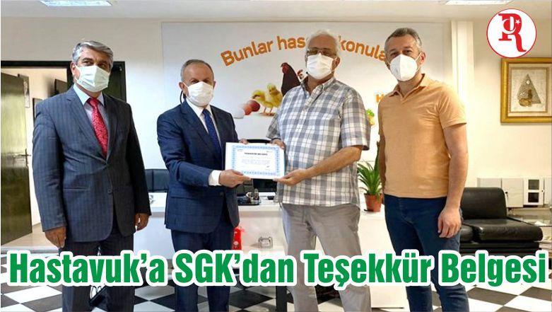 Hastavuk'a SGK'dan Teşekkür Belgesi