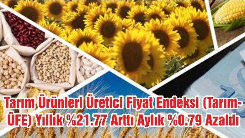 Tarım Ürünleri Üretici Fiyat Endeksi (Tarım-ÜFE) Yıllık %21.77 Arttı Aylık %0.79 Azaldı