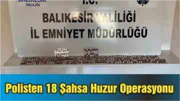 Balıkesir'de Polisten 18 Şahsa Huzur Operasyonu