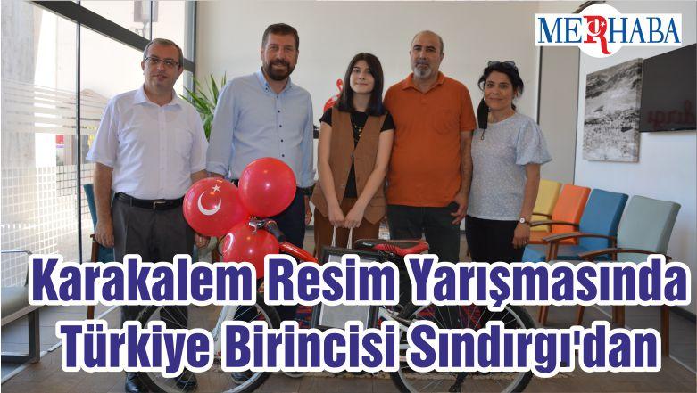 Karakalem Resim Yarışmasında Türkiye Birincisi Sındırgı'dan