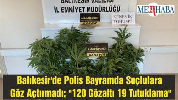 """Balıkesir'de Polis Bayramda Suçlulara Göz Açtırmadı; """"120 Gözaltı 19 Tutuklama"""""""