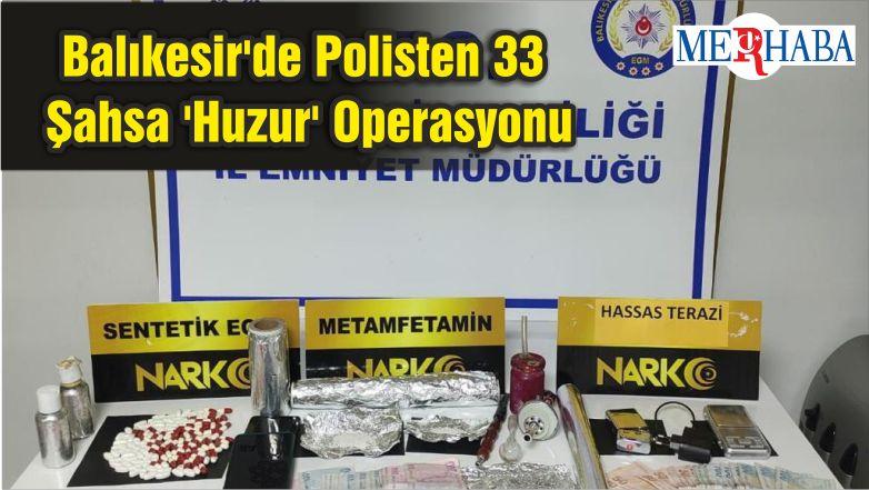 Balıkesir'de Polisten 33 Şahsa 'Huzur' Operasyonu