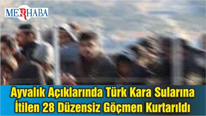Ayvalık Açıklarında Türk Kara Sularına İtilen 28 Düzensiz Göçmen Kurtarıldı