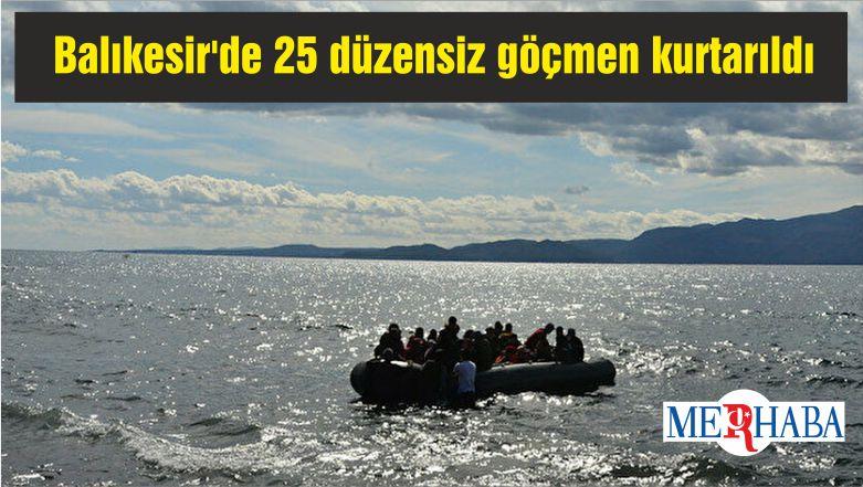 Balıkesir'de Türk kara sularına itilen 25 düzensiz göçmen kurtarıldı
