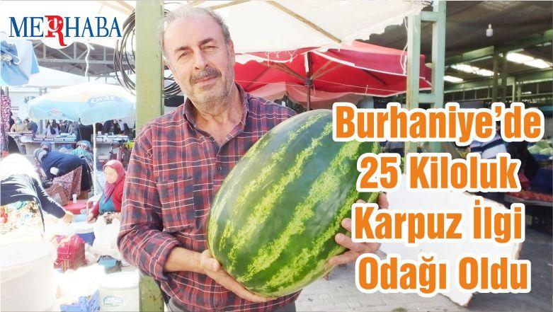 Burhaniye'de 25 Kiloluk Karpuz İlgi Odağı Oldu